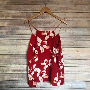 Dalia Tops - Dalia tropical Hawaiian printed floral blouse tank